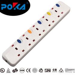 Saída de múltiplos protegidas contra surtos de tomada de extensão com Interruptor Individual