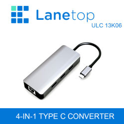 Adattatore Gigabit Ethernet da Lanetop USB 3.1 Type-C a USB3.0X3+