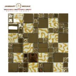 Кристально чистый звук газа золотая фольга металлические стеклянной мозаики на стене кухни Backsplash