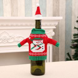 Decoraciones de Navidad Suéter de botella de vino de la bolsa de cubierta de Santa Claus tejer sombreros