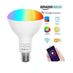 مصباح LED للتحكم بتطبيق الصوت في Smart WiFi عالي الجودة مصباح LED الأحمر والأخضر والأزرق (RGB) مصباح المصباح E27 مصابيح الإضاءة النيون مصابيح LED ضوء موضعي قابلة للتخفيت طراز B