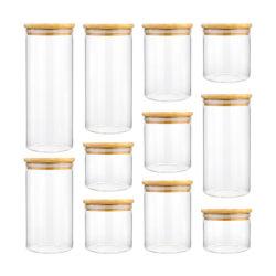 2 Oz 4 Oz 8 Oz 10 Oz 12 Oz 14 Oz 16 Oz Tapa de madera de almacenamiento de alimentos dulces vela frascos de vidrio con tapas de madera de bambú