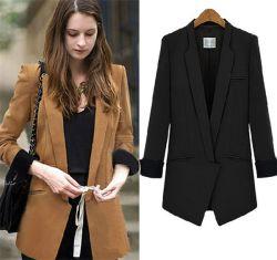 Estilo coreano de longitud mediana señoras Chiffon Escudo Traje de chaqueta de oficina