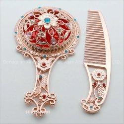 Plaqué or rose Peigne de luxe avec jeu de miroirs