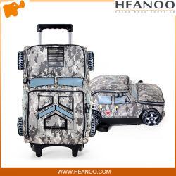 Niño de dibujos animados Rolling Camouflage Boys Tank Car Book Bag Mochila