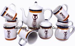 Stoneware Hand Painted Tea Set and Coffee Set,