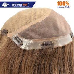 Custom дамы моно и шелк верхнюю часть волос замена Wig