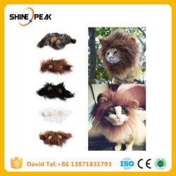 최신 판매 애완 동물 고양이 개는 복장 가발 에뮬레이션 사자 머리 갈기 귀 맨 위 모자 가을 겨울 머플러 스카프 애완 동물 제품을 위로 옷을 입는다