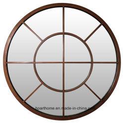 Round Salão de Beleza espelhos emoldurados Metal cobre decoração Arte na parede