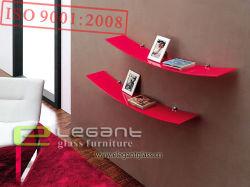 Prateleira de Vidro Vermelho moderno para o livro na sala de estar