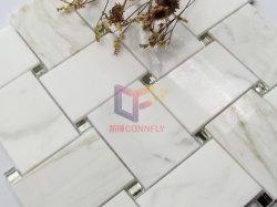 ミラーのガラス組合せのCalacattaの金の大理石のニット様式のモザイク(CFS1198)