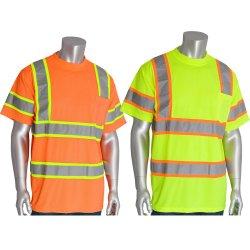 最も新しいデザイン安全反射衣類100%年のポリエステル網のTシャツのフルオレスセイン作業摩耗のユニフォーム2の調子の短い袖の安全Tシャツ