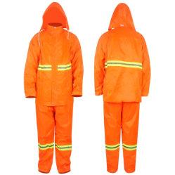 Nylon laranja/ Poliéster tecido respirável Raincoat feminina