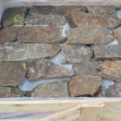 별장 프로젝트를 위한 브라운 시골풍 느슨한 베니어 돌담