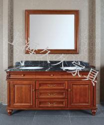 フレームの標準的なタイプ浴室の家具のミラーが付いている純木の浴室用キャビネット