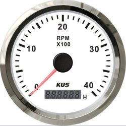 tachimetro bianco del motore diesel Cmhb-Ws-4kl del tachimetro 0-4000rpm di 85mm Kus