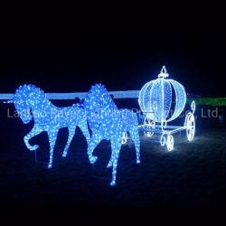 Fundo de casamento 3D transporte de cavalos decoração de casamento LED luzes Motif