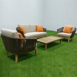 チークのロープによって編まれる家具の庭のソファー