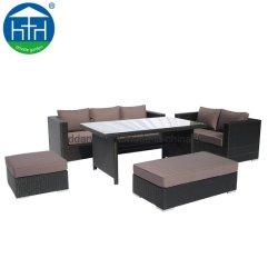 Вид в разрезе открытый патио с видом на сад PE плетеной диван с обеденным столом