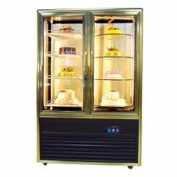 Supermercado quatro portas de vidro lateral Bolo de resfriamento por ventilador Exibir Frigorífico