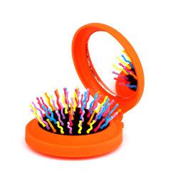 China-preiswerter beweglicher faltender Haar-Pinsel mit Verfassungs-Spiegel, kompakter Pocket Haar-Kamm-Pinsel mit Regenbogen-Borste, runder faltbarer Haar-Pinsel