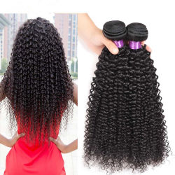 El mongol Afro Kinky Curly tejer Cabello Natural Color negro de los paquetes de 1 pieza de cabello Non-Remy 10-24pulg.