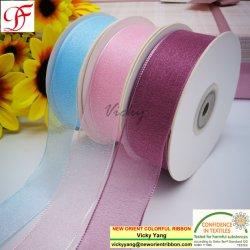 Fábrica/Venda/OEM/ Impresso 100% brilho de Nylon Shinning Fita Organza para exportar Coreia para encapar/Decoration/Xmas/Arcos/Roupa