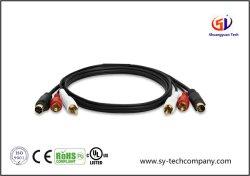 金とコンボSビデオ及び2RCA可聴周波ケーブルは3FTをめっきした