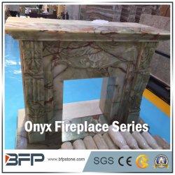 Pedra natural de luxo Onyx Lareira Hand-Carved escultura para decoração de interiores