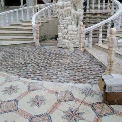 Mistura de mármore e pedra travertino medalhão de Mosaico para decoração