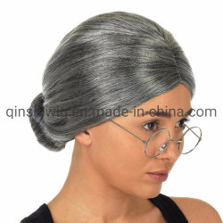 La vieille dame Mamie perruque de cheveux gris Bun Grand Mère cosplay costume Halloween Party Club coiffure perruque