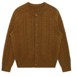 Twist tricot chaud d'hommes Cardigan chandail à manches longues de couleur unie