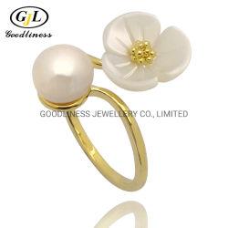 precio de fábrica OEM ODM y nuevo diseño de moda Simple Nickle&Sin plomo Pearl 925 Joyería de Plata anillos de dedo para mujeres de fabricante de joyas de Guangzhou, China