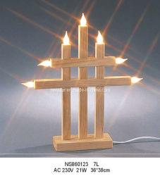 Lampada a candela a ponte in legno naturale da 7 litri
