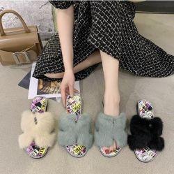 نساء خفاف داخليّة خارجيّة حذاء خفاف فروة مزالق, صاحب مصنع الصين بالجملة فروة خفاف