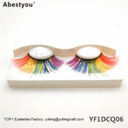 Abestyouの試供品のプライベートラベルの多彩な鞭の3Dによって着色されるミンクはネオン鞭の卸し売り劇的な着色されたミンクのまつげを打つ