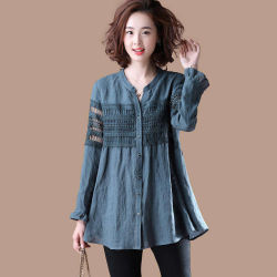 2020 Fashion Gancho Soltas Hollowed-out Camisa Linen-Cotton blusa para Mulheres