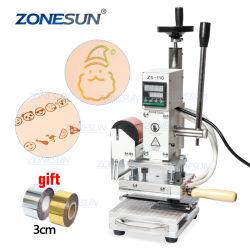 Zonesun Zs-110 목제 나무 PVC 서류상 DIY를 위한 공구를 청동색으로 만드는 Slideable 작업대 디지털 열 압박 기계 가죽 각인 기계