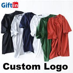 도매 남자는 로고 공백 티 OEM ODM 형식 백색 100%년 면 t-셔츠 O 셔츠 인쇄가 너무 크은 의류 평야에 의하여 수를 놓는 남녀 공통 여자 아이를 주문 설계한다