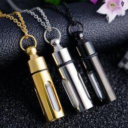 Creativo può svitare il pendente della bottiglia di olio essenziale degli uomini d'acciaio di titanio Caldo-Vendere della collana della bottiglia di profumo