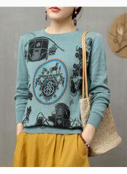 As mulheres personalizado suéter da gola redonda suéter mulheres Tecidos de algodão puro pulôver suéter