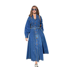 新しいデザイン秋の傘タイプ方法濃紺の長いふしだらな女のデニムのジーンズのコート