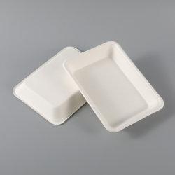 Eco 친절한 처분할 수 있는 사탕수수 펄프 사각 대중음식점을%s 생물 분해성 백색 큰 접시