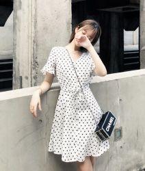 Sukol 하얀 옷 파 점 소녀 작은 신선한 치마