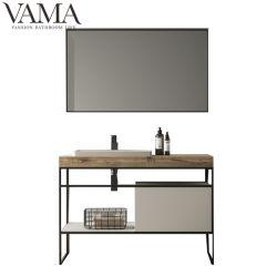 Vama debout de plancher en acier inoxydable industrielle Hotel salle de bains Vanity avec quartz haut LB-002