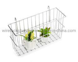 Chrome-Plated Panier avec crochets pour le mur de fil Panneau de grille et de la pendaison des étagères de fil