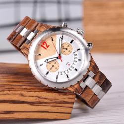 Vigilância de madeira personalizado de moda de luxo homens relógio de pulso (DF-MW035)