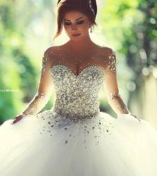 Kristallbrautballkleid-lange Hülsen, die arabisches Hochzeits-Kleid Z2016 bördeln