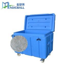PE материала большой объем сухого льда в контейнере для хранения металлические крепления лотков двухколесным приводом легко перемещаться