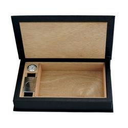 El mejor venta de cigarros de viaje de cuero Negro Caja de almacenamiento con Cigar Cutter